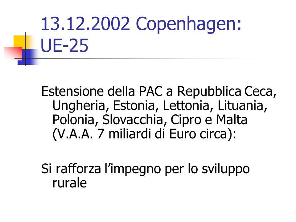 13.12.2002 Copenhagen: UE-25 Estensione della PAC a Repubblica Ceca, Ungheria, Estonia, Lettonia, Lituania, Polonia, Slovacchia, Cipro e Malta (V.A.A.