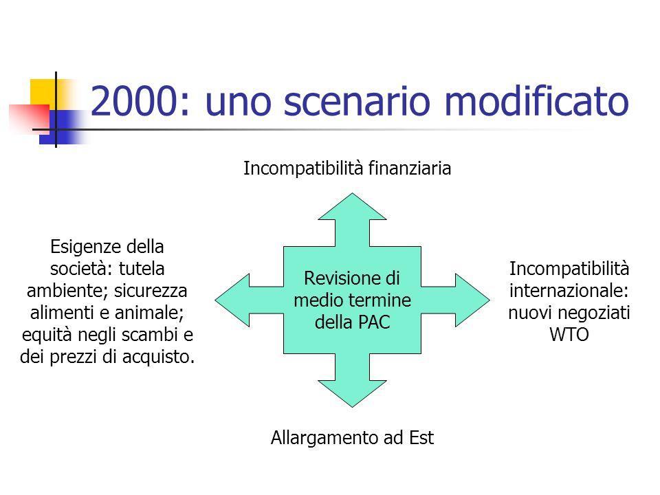 2000: uno scenario modificato Revisione di medio termine della PAC Incompatibilità finanziaria Incompatibilità internazionale: nuovi negoziati WTO Allargamento ad Est Esigenze della società: tutela ambiente; sicurezza alimenti e animale; equità negli scambi e dei prezzi di acquisto.