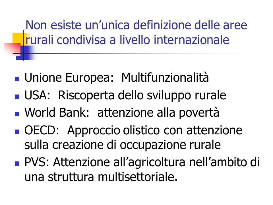 Non esiste un'unica definizione delle aree rurali condivisa a livello internazionale Unione Europea: Multifunzionalità USA: Riscoperta dello sviluppo rurale World Bank: attenzione alla povertà OECD: Approccio olistico con attenzione sulla creazione di occupazione rurale PVS: Attenzione all'agricoltura nell'ambito di una struttura multisettoriale.