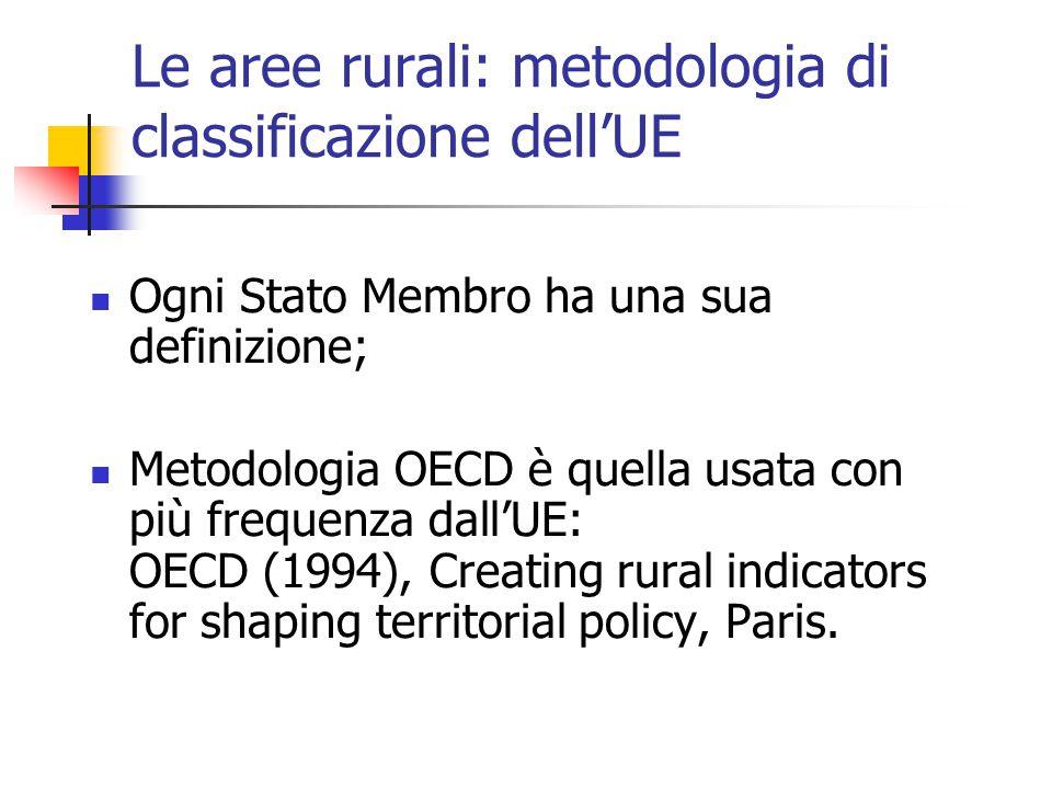 Le aree rurali: metodologia di classificazione dell'UE Ogni Stato Membro ha una sua definizione; Metodologia OECD è quella usata con più frequenza dall'UE: OECD (1994), Creating rural indicators for shaping territorial policy, Paris.