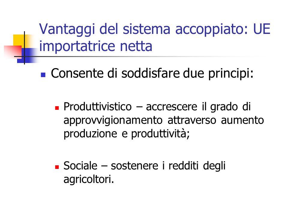 Vantaggi del sistema accoppiato: UE importatrice netta Consente di soddisfare due principi: Produttivistico – accrescere il grado di approvvigionamento attraverso aumento produzione e produttività; Sociale – sostenere i redditi degli agricoltori.