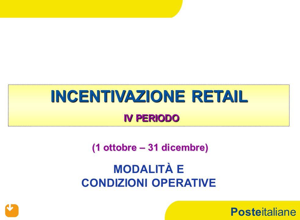Posteitaliane INCENTIVAZIONE RETAIL IV PERIODO (1 ottobre – 31 dicembre) MODALITÀ E CONDIZIONI OPERATIVE