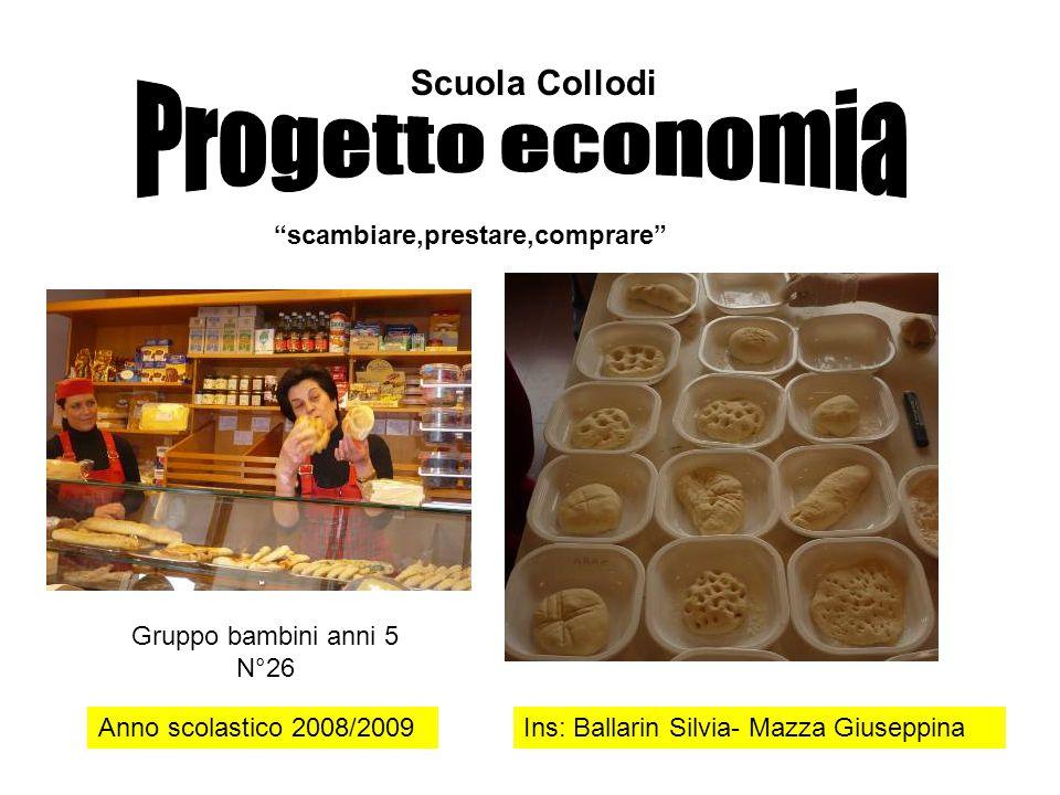 """Scuola Collodi Anno scolastico 2008/2009Ins: Ballarin Silvia- Mazza Giuseppina """"scambiare,prestare,comprare"""" Gruppo bambini anni 5 N°26"""