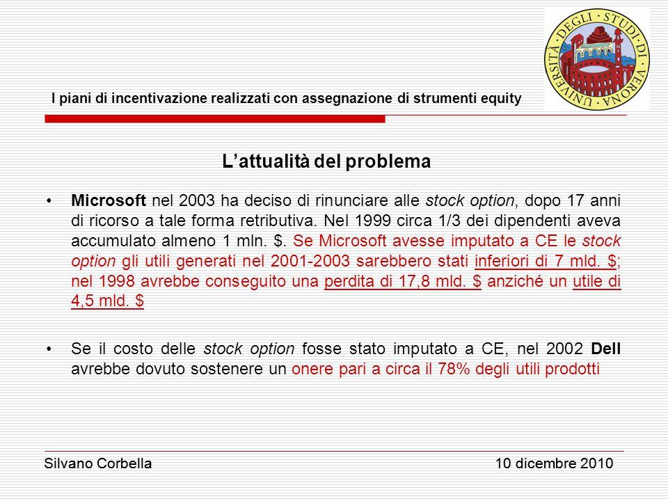 Silvano Corbella 10 dicembre 2010 I piani di incentivazione realizzati con assegnazione di strumenti equity Silvano Corbella 10 dicembre 2010 L'attualità del problema Microsoft nel 2003 ha deciso di rinunciare alle stock option, dopo 17 anni di ricorso a tale forma retributiva.