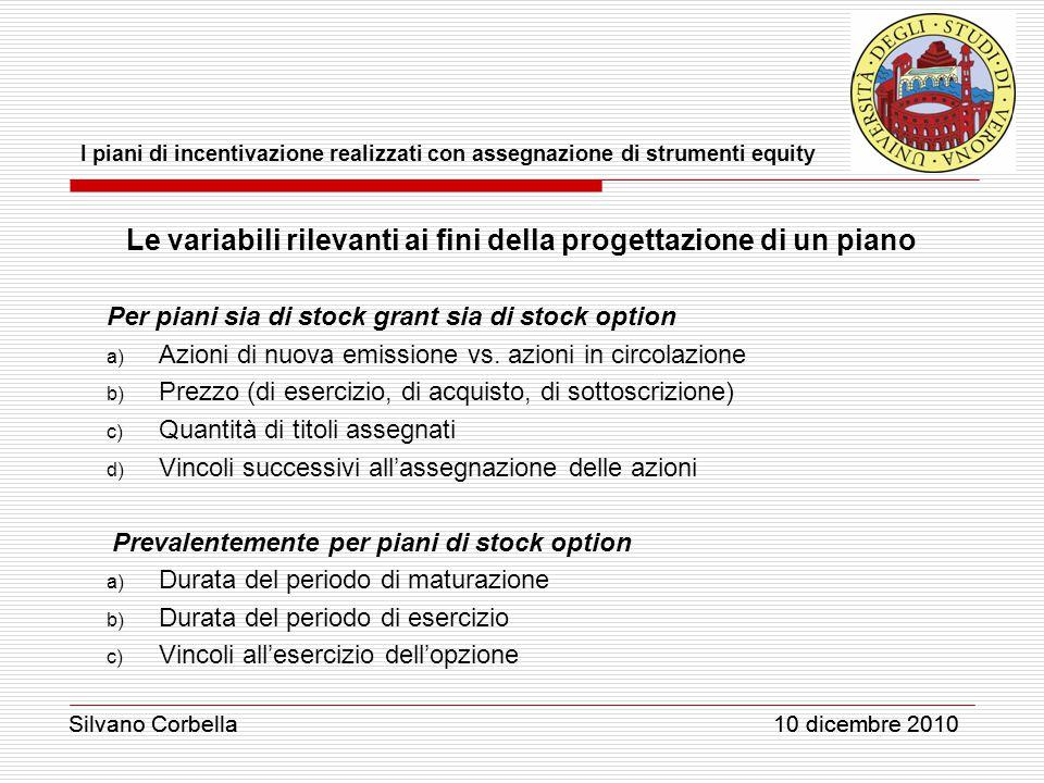 Silvano Corbella 10 dicembre 2010 I piani di incentivazione realizzati con assegnazione di strumenti equity Silvano Corbella 10 dicembre 2010 Le varia