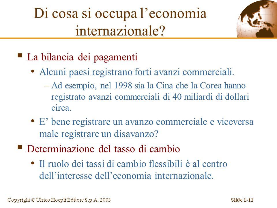 Copyright © Ulrico Hoepli Editore S.p.A. 2003Slide 1-11  La bilancia dei pagamenti Alcuni paesi registrano forti avanzi commerciali. –Ad esempio, nel