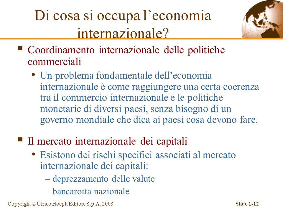 Copyright © Ulrico Hoepli Editore S.p.A. 2003Slide 1-12 Di cosa si occupa l'economia internazionale?  Coordinamento internazionale delle politiche co
