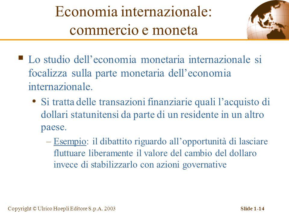 Copyright © Ulrico Hoepli Editore S.p.A. 2003Slide 1-14  Lo studio dell'economia monetaria internazionale si focalizza sulla parte monetaria dell'eco