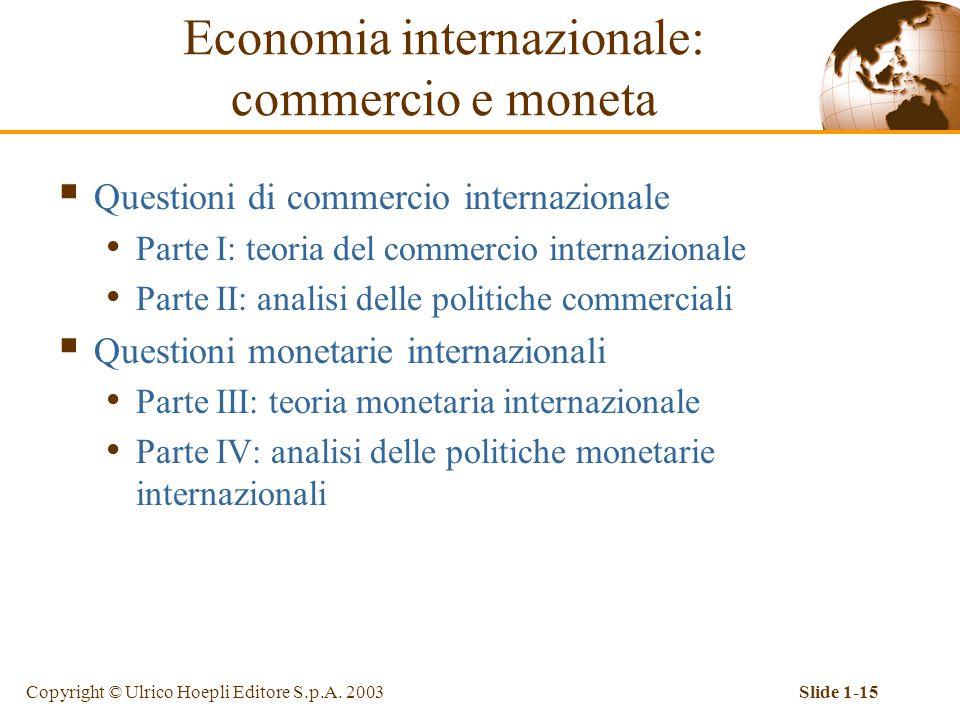 Copyright © Ulrico Hoepli Editore S.p.A. 2003Slide 1-15  Questioni di commercio internazionale Parte I: teoria del commercio internazionale Parte II: