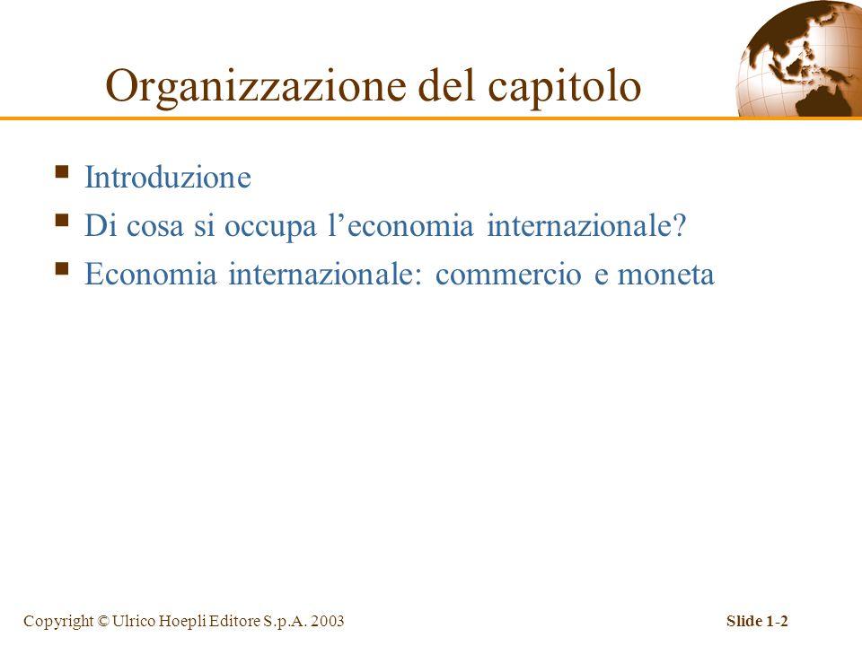 Copyright © Ulrico Hoepli Editore S.p.A. 2003Slide 1-2 Organizzazione del capitolo  Introduzione  Di cosa si occupa l'economia internazionale?  Eco
