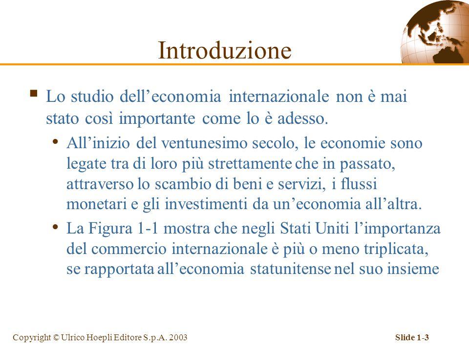 Copyright © Ulrico Hoepli Editore S.p.A. 2003Slide 1-3  Lo studio dell'economia internazionale non è mai stato così importante come lo è adesso. All'
