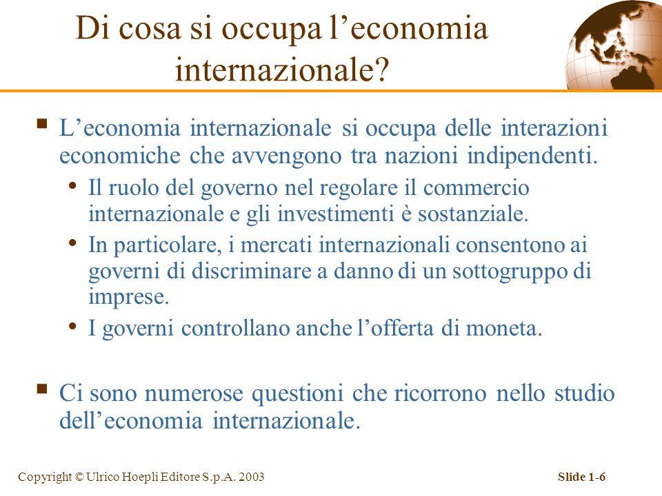Copyright © Ulrico Hoepli Editore S.p.A. 2003Slide 1-6  L'economia internazionale si occupa delle interazioni economiche che avvengono tra nazioni in