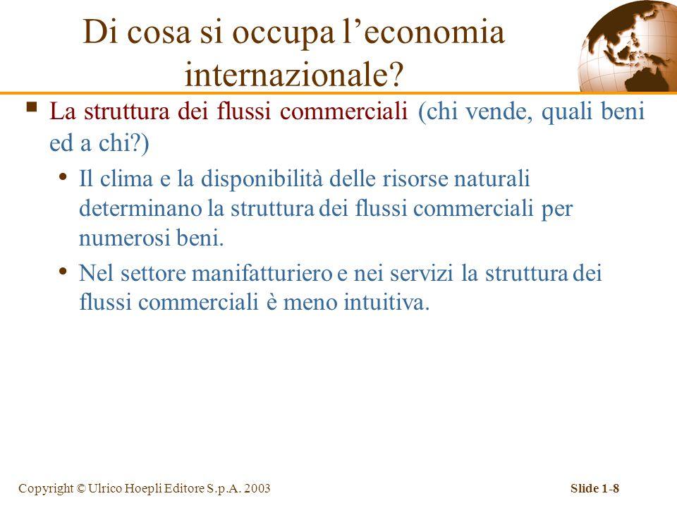 Copyright © Ulrico Hoepli Editore S.p.A. 2003Slide 1-8  La struttura dei flussi commerciali (chi vende, quali beni ed a chi?) Il clima e la disponibi