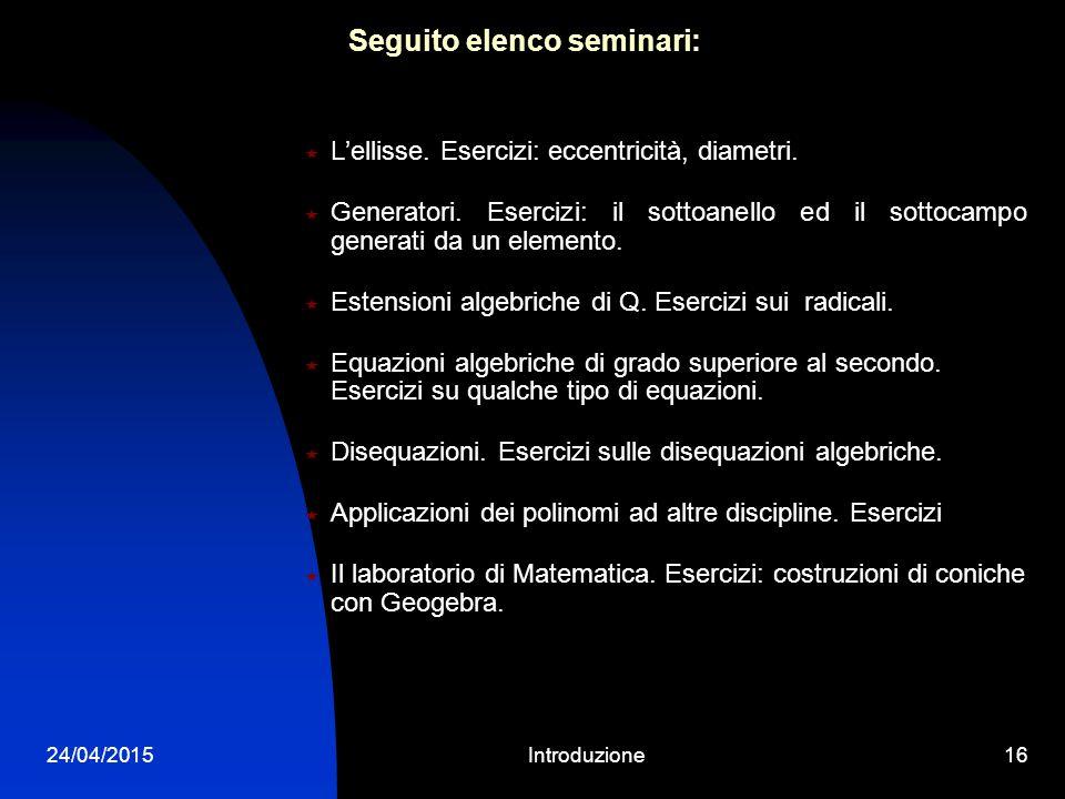 24/04/2015Introduzione15 ELENCO DEI SEMINARI PROPOSTI NEL 2014/15  Simmetrie di una figura piana. Esercizi: il gruppo di un poligono regolare e di un