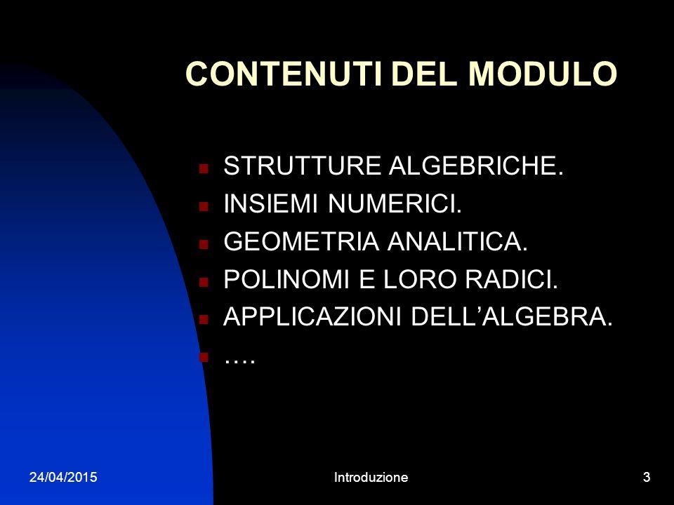 24/04/2015Introduzione2 REPETITA JUVANT Sono Libero Verardi, professore associato di Algebra. E.mail: libero.verardi@unibo.itlibero.verardi@unibo.it T