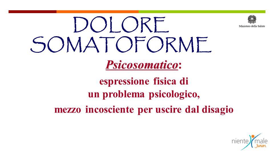 Psicosomatico Psicosomatico: espressione fisica di un problema psicologico, mezzo incosciente per uscire dal disagio DOLORE SOMATOFORME
