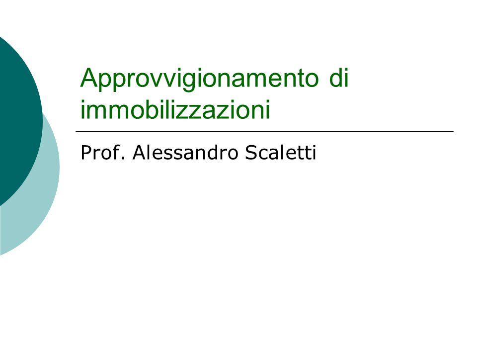 Approvvigionamento di immobilizzazioni Prof. Alessandro Scaletti