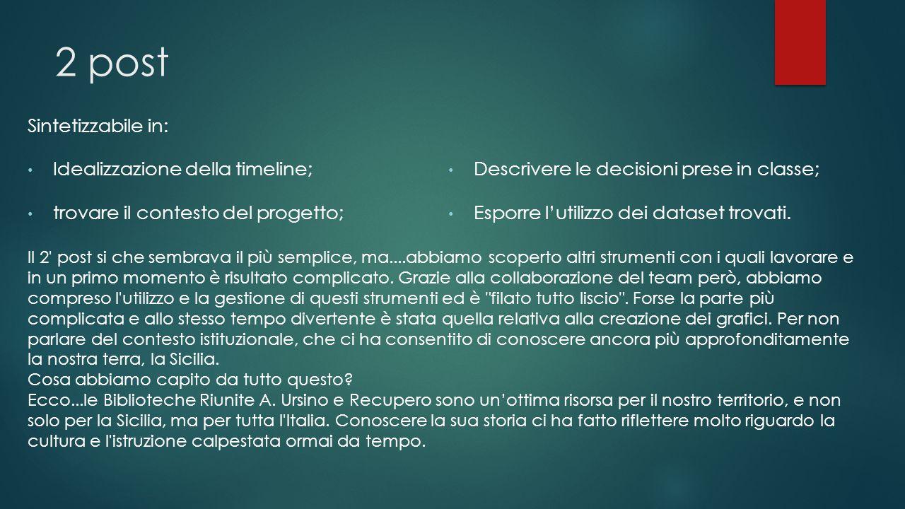 2 post Sintetizzabile in: Idealizzazione della timeline; trovare il contesto del progetto; Descrivere le decisioni prese in classe; Esporre l'utilizzo dei dataset trovati.