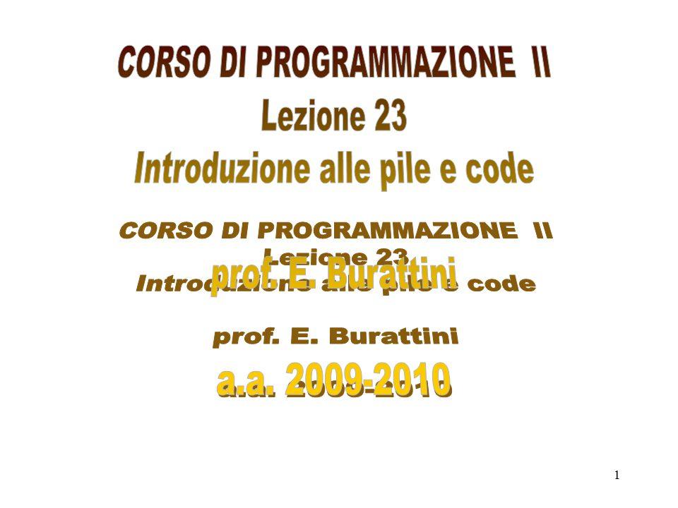22 // COSTRUZIONE E GESTIONE DI UNA CODA CON UN VETTORE #include using namespace std; const int Max=4; // CLASSE class coda { public: coda() { top=0;queue=0; num=0;} void push(int &e); void pop(int &e); void cima(); bool vuota(); bool piena(); void stampa(); private: int top; int queue; int num; int items[Max]; }; void coda::pop(int &e) { if (!vuota()) { e=items[top]; num--; top=top%Max+1;//system( pause ); } else cout<< coda vuota <<endl; } void coda::push(int& e) { if(!piena()) { num++; items[queue]=e; queue=(queue+1)%Max; } else cout<< Errore la coda è piena <<endl; }