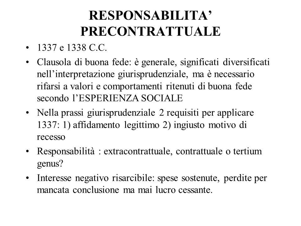 RESPONSABILITA' PRECONTRATTUALE 1337 e 1338 C.C.