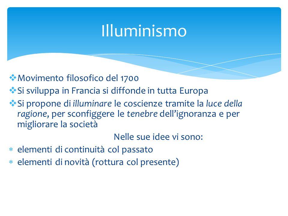 Movimento filosofico del 1700  Si sviluppa in Francia si diffonde in tutta Europa  Si propone di illuminare le coscienze tramite la luce della rag