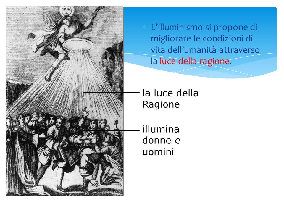  L'illuminismo si propone di migliorare le condizioni di vita dell'umanità attraverso la luce della ragione. la luce della Ragione illumina donne e u