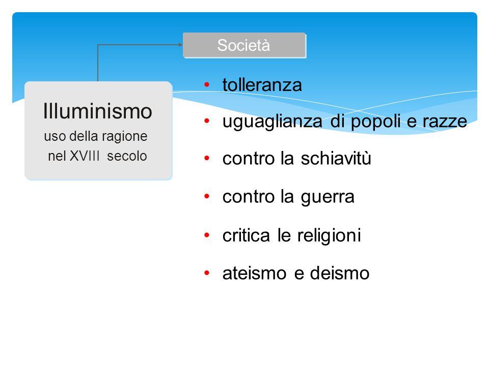 Illuminismo uso della ragione nel XVIII secolo Illuminismo uso della ragione nel XVIII secolo Società tolleranza uguaglianza di popoli e razze contro