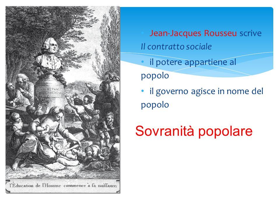 Jean-Jacques Rousseu scrive Il contratto sociale il potere appartiene al popolo il governo agisce in nome del popolo Sovranità popolare