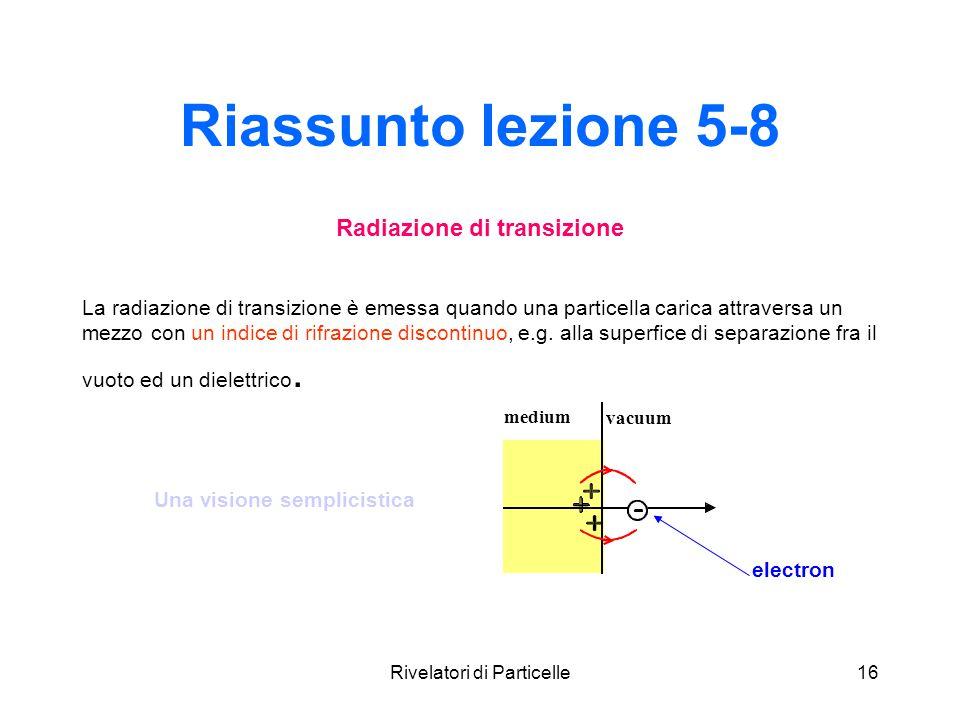 Rivelatori di Particelle16 Riassunto lezione 5-8 Radiazione di transizione La radiazione di transizione è emessa quando una particella carica attraver