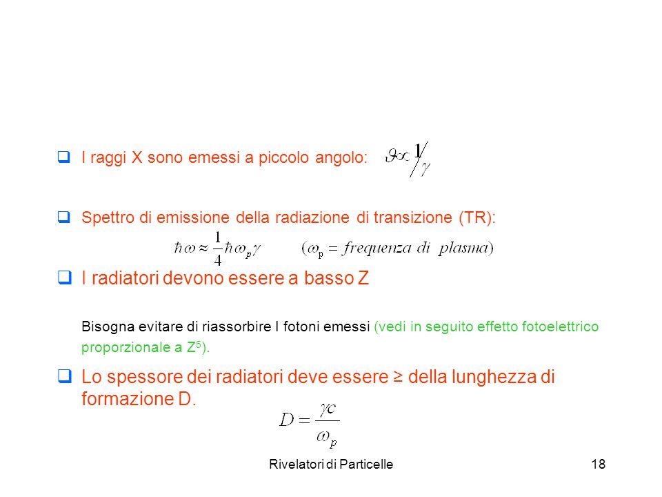 Rivelatori di Particelle18  I raggi X sono emessi a piccolo angolo:  Spettro di emissione della radiazione di transizione (TR):  I radiatori devono