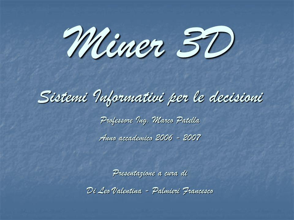 Miner 3D Sistemi Informativi per le decisioni Professore Ing.