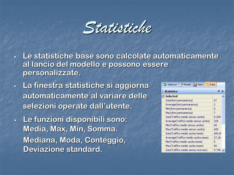 Statistiche Le statistiche base sono calcolate automaticamente al lancio del modello e possono essere personalizzate.