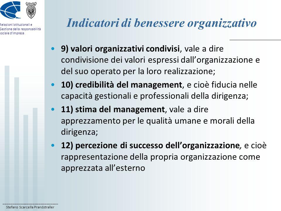 ____________________________ Stefano Scarcella Prandstraller Relazioni istituzionali e Gestione della responsabilità sociale d'impresa Indicatori di benessere organizzativo 9) valori organizzativi condivisi, vale a dire condivisione dei valori espressi dall'organizzazione e del suo operato per la loro realizzazione; 10) credibilità del management, e cioè fiducia nelle capacità gestionali e professionali della dirigenza; 11) stima del management, vale a dire apprezzamento per le qualità umane e morali della dirigenza; 12) percezione di successo dell'organizzazione, e cioè rappresentazione della propria organizzazione come apprezzata all'esterno