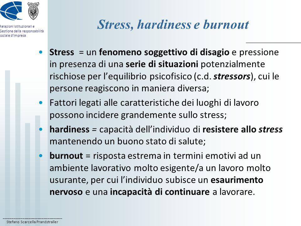 ____________________________ Stefano Scarcella Prandstraller Relazioni istituzionali e Gestione della responsabilità sociale d'impresa Stress, hardiness e burnout Stress = un fenomeno soggettivo di disagio e pressione in presenza di una serie di situazioni potenzialmente rischiose per l'equilibrio psicofisico (c.d.
