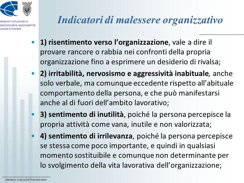 ____________________________ Stefano Scarcella Prandstraller Relazioni istituzionali e Gestione della responsabilità sociale d'impresa Indicatori di malessere organizzativo 1) risentimento verso l'organizzazione, vale a dire il provare rancore o rabbia nei confronti della propria organizzazione fino a esprimere un desiderio di rivalsa; 2) irritabilità, nervosismo e aggressività inabituale, anche solo verbale, ma comunque eccedente rispetto all'abituale comportamento della persona, e che può manifestarsi anche al di fuori dell'ambito lavorativo; 3) sentimento di inutilità, poiché la persona percepisce la propria attività come vana, inutile e non valorizzata; 4) sentimento di irrilevanza, poiché la persona percepisce se stessa come poco importante, e quindi in qualsiasi momento sostituibile e comunque non determinante per lo svolgimento della vita lavorativa dell'organizzazione;