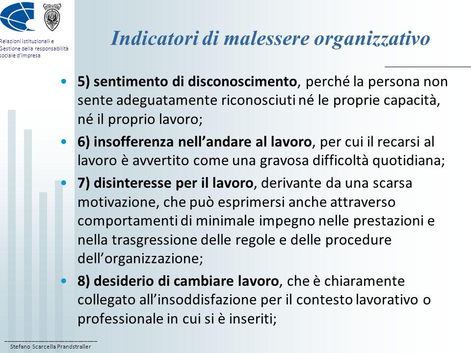 ____________________________ Stefano Scarcella Prandstraller Relazioni istituzionali e Gestione della responsabilità sociale d'impresa Indicatori di m