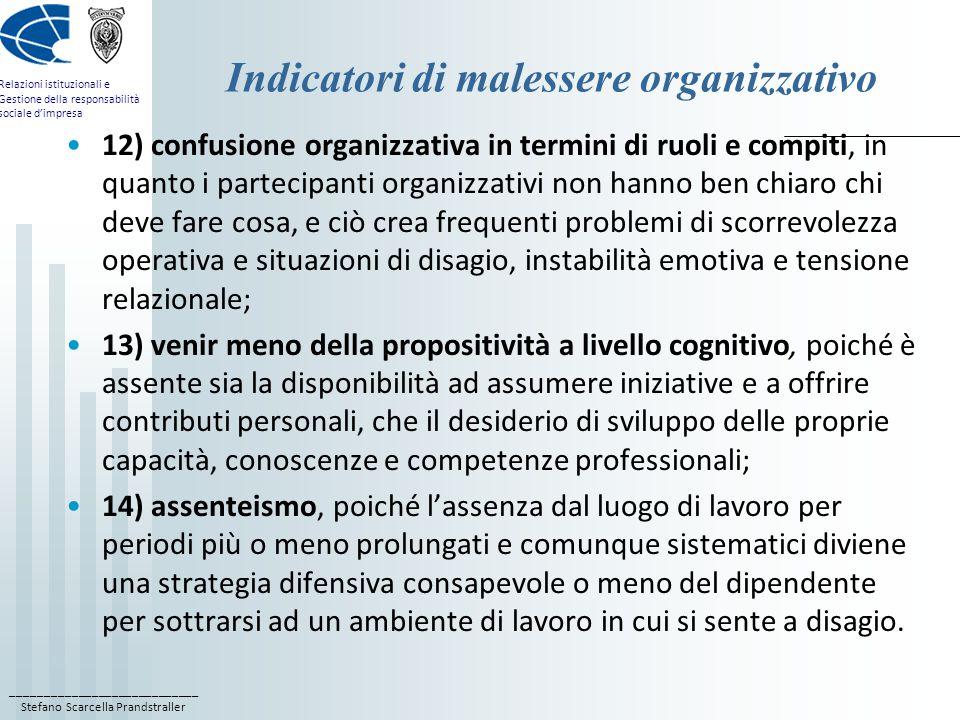 ____________________________ Stefano Scarcella Prandstraller Relazioni istituzionali e Gestione della responsabilità sociale d'impresa Indicatori di malessere organizzativo 12) confusione organizzativa in termini di ruoli e compiti, in quanto i partecipanti organizzativi non hanno ben chiaro chi deve fare cosa, e ciò crea frequenti problemi di scorrevolezza operativa e situazioni di disagio, instabilità emotiva e tensione relazionale; 13) venir meno della propositività a livello cognitivo, poiché è assente sia la disponibilità ad assumere iniziative e a offrire contributi personali, che il desiderio di sviluppo delle proprie capacità, conoscenze e competenze professionali; 14) assenteismo, poiché l'assenza dal luogo di lavoro per periodi più o meno prolungati e comunque sistematici diviene una strategia difensiva consapevole o meno del dipendente per sottrarsi ad un ambiente di lavoro in cui si sente a disagio.
