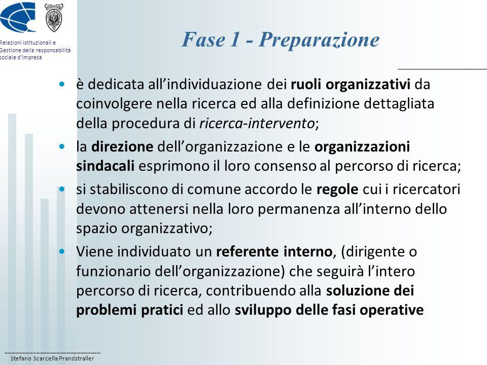 ____________________________ Stefano Scarcella Prandstraller Relazioni istituzionali e Gestione della responsabilità sociale d'impresa Fase 1 - Preparazione è dedicata all'individuazione dei ruoli organizzativi da coinvolgere nella ricerca ed alla definizione dettagliata della procedura di ricerca-intervento; la direzione dell'organizzazione e le organizzazioni sindacali esprimono il loro consenso al percorso di ricerca; si stabiliscono di comune accordo le regole cui i ricercatori devono attenersi nella loro permanenza all'interno dello spazio organizzativo; Viene individuato un referente interno, (dirigente o funzionario dell'organizzazione) che seguirà l'intero percorso di ricerca, contribuendo alla soluzione dei problemi pratici ed allo sviluppo delle fasi operative
