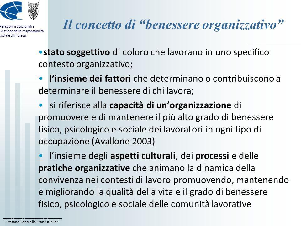 ____________________________ Stefano Scarcella Prandstraller Relazioni istituzionali e Gestione della responsabilità sociale d'impresa Il concetto di benessere organizzativo stato soggettivo di coloro che lavorano in uno specifico contesto organizzativo; l'insieme dei fattori che determinano o contribuiscono a determinare il benessere di chi lavora; si riferisce alla capacità di un'organizzazione di promuovere e di mantenere il più alto grado di benessere fisico, psicologico e sociale dei lavoratori in ogni tipo di occupazione (Avallone 2003) l'insieme degli aspetti culturali, dei processi e delle pratiche organizzative che animano la dinamica della convivenza nei contesti di lavoro promuovendo, mantenendo e migliorando la qualità della vita e il grado di benessere fisico, psicologico e sociale delle comunità lavorative