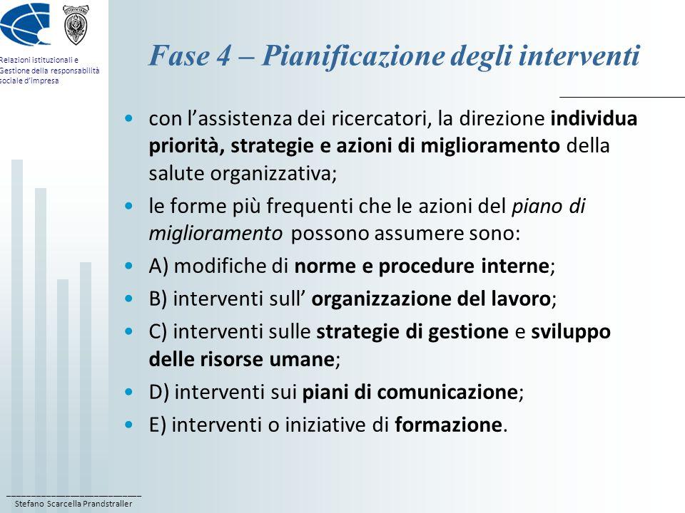 ____________________________ Stefano Scarcella Prandstraller Relazioni istituzionali e Gestione della responsabilità sociale d'impresa Fase 4 – Pianif