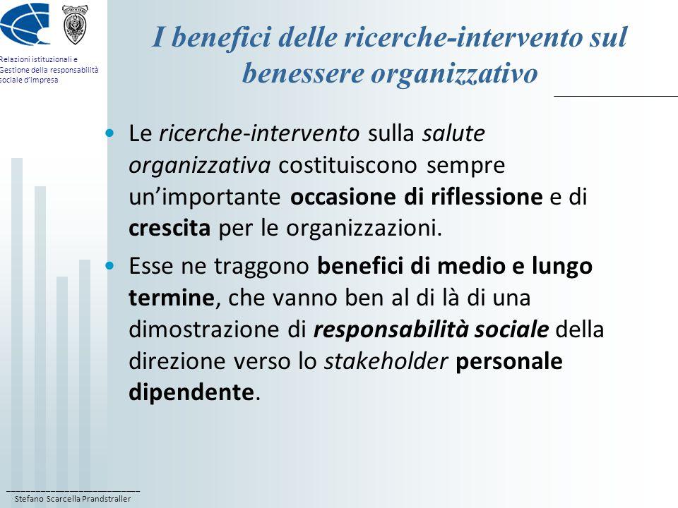 ____________________________ Stefano Scarcella Prandstraller Relazioni istituzionali e Gestione della responsabilità sociale d'impresa I benefici delle ricerche-intervento sul benessere organizzativo Le ricerche-intervento sulla salute organizzativa costituiscono sempre un'importante occasione di riflessione e di crescita per le organizzazioni.