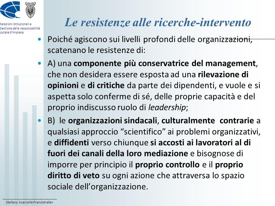 ____________________________ Stefano Scarcella Prandstraller Relazioni istituzionali e Gestione della responsabilità sociale d'impresa Le resistenze a