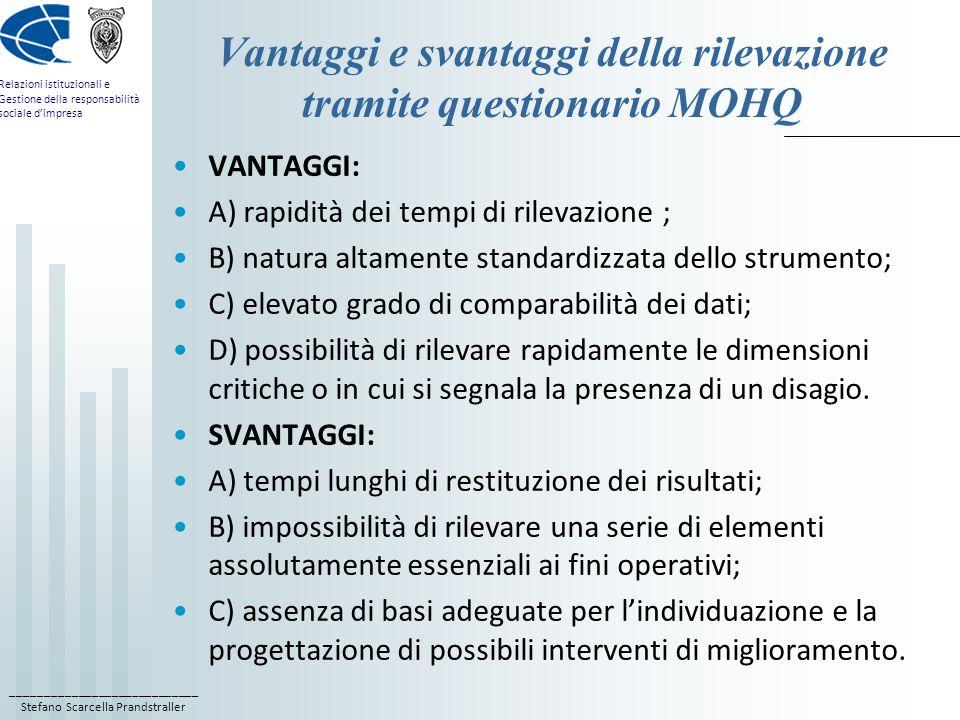____________________________ Stefano Scarcella Prandstraller Relazioni istituzionali e Gestione della responsabilità sociale d'impresa Vantaggi e svan