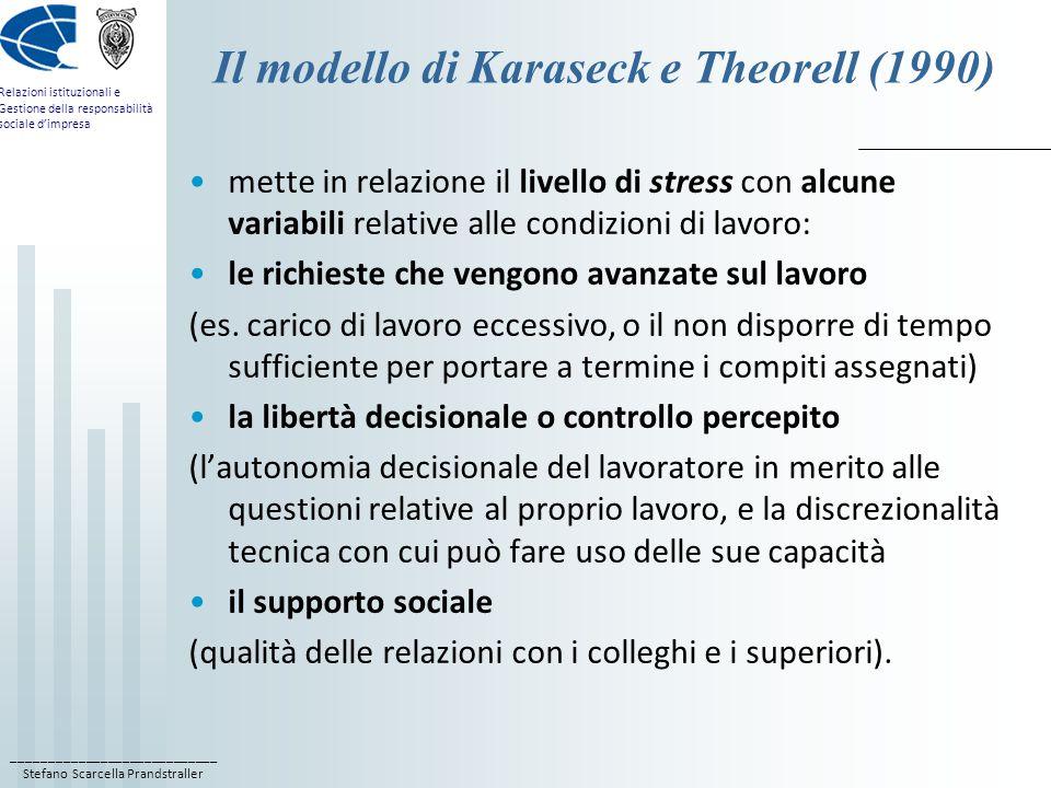 ____________________________ Stefano Scarcella Prandstraller Relazioni istituzionali e Gestione della responsabilità sociale d'impresa Il modello di Karaseck e Theorell (1990) mette in relazione il livello di stress con alcune variabili relative alle condizioni di lavoro: le richieste che vengono avanzate sul lavoro (es.