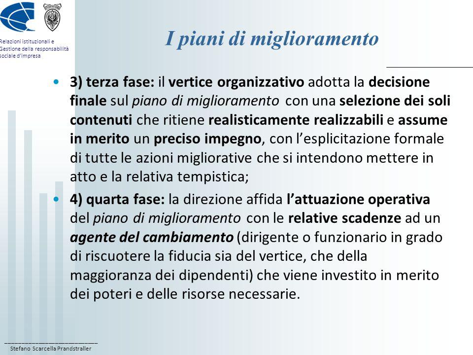 ____________________________ Stefano Scarcella Prandstraller Relazioni istituzionali e Gestione della responsabilità sociale d'impresa I piani di migl