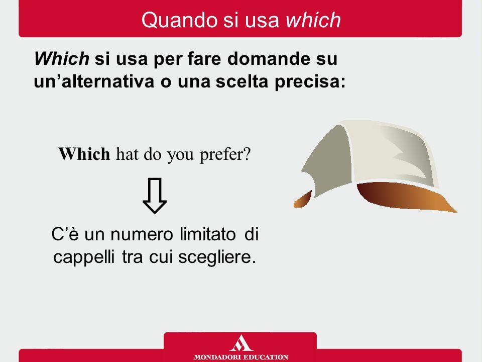 Which hat do you prefer? ⇩ C'è un numero limitato di cappelli tra cui scegliere. Which si usa per fare domande su un'alternativa o una scelta precisa: