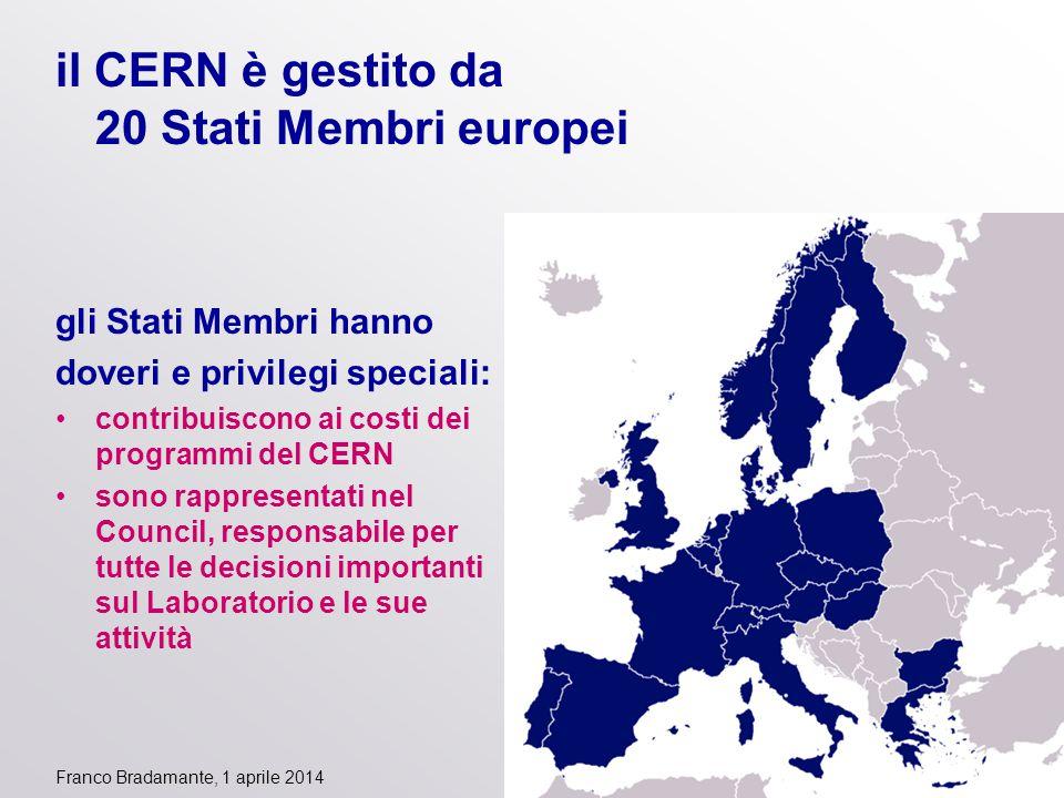 Franco Bradamante, 1 aprile 2014 il CERN è gestito da 20 Stati Membri europei gli Stati Membri hanno doveri e privilegi speciali: contribuiscono ai co