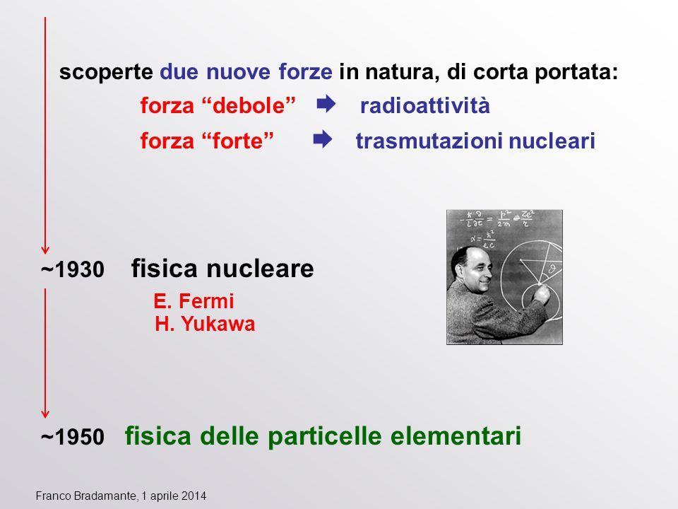 """scoperte due nuove forze in natura, di corta portata: forza """"debole""""  radioattività forza """"forte""""  trasmutazioni nucleari ~1930 fisica nucleare E. F"""