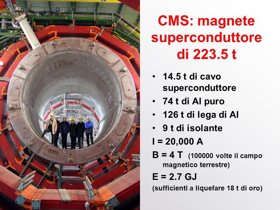 Franco Bradamante, 1 aprile 2014 CMS: magnete superconduttore di 223.5 t 14.5 t di cavo superconduttore 74 t di Al puro 126 t di lega di Al 9 t di iso