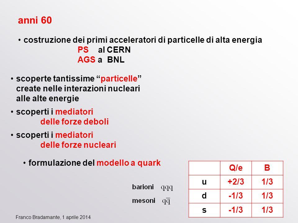 """Franco Bradamante, 1 aprile 2014 anni 60 costruzione dei primi acceleratori di particelle di alta energia PS al CERN AGS a BNL scoperte tantissime """"pa"""